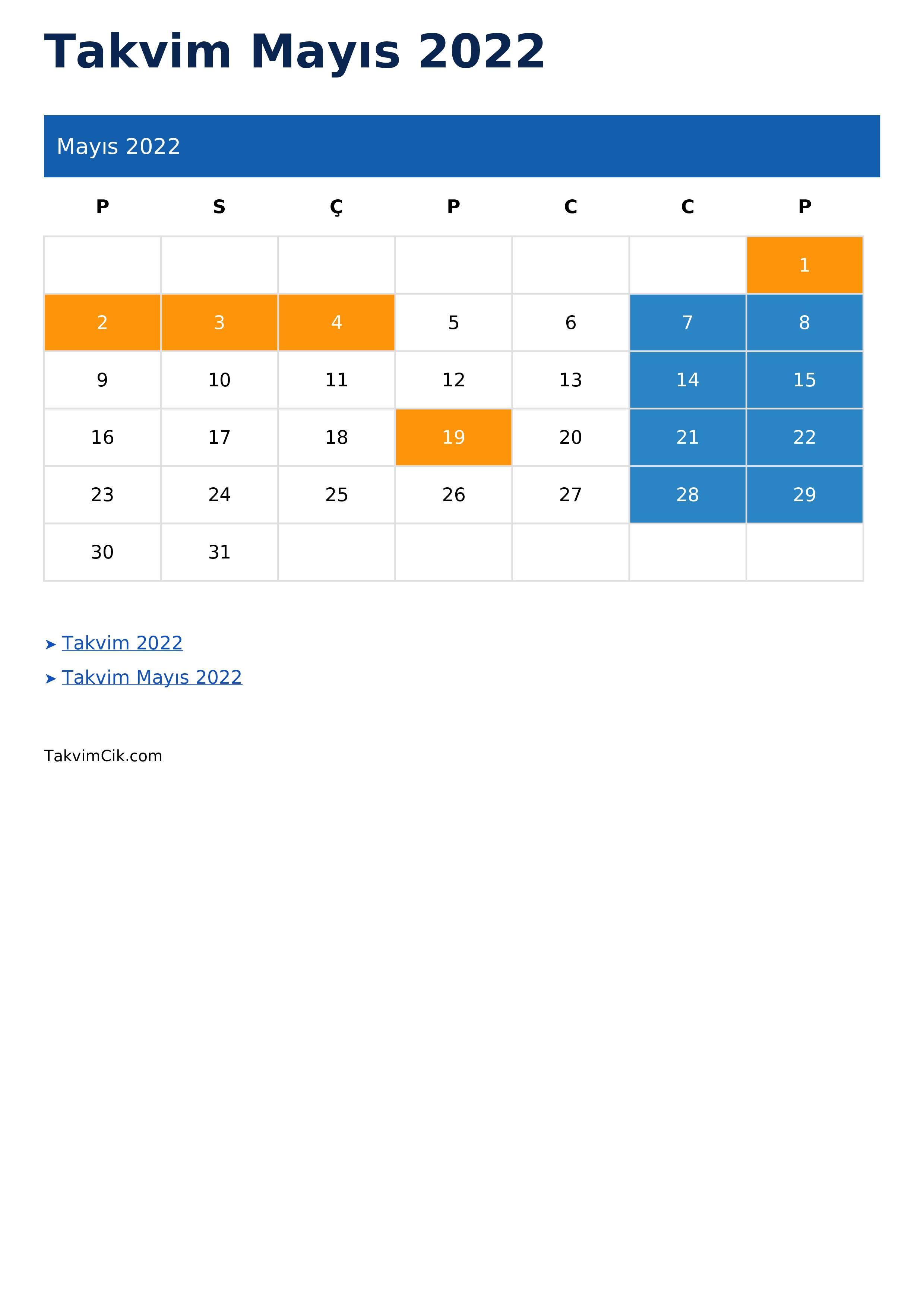 Takvim Mayıs 2022
